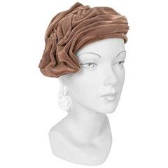 1950s Pierre Balmain Taupe Velvet Hat