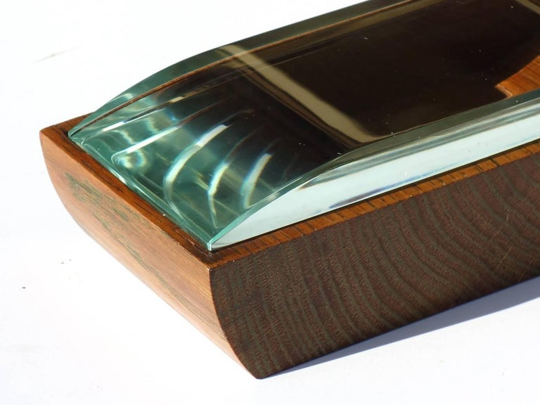 Box Pietro Chiesa by Fontana Arte Italy, 1940-1950  Wood and aquamarine crystal Crystal in perfect condition.
