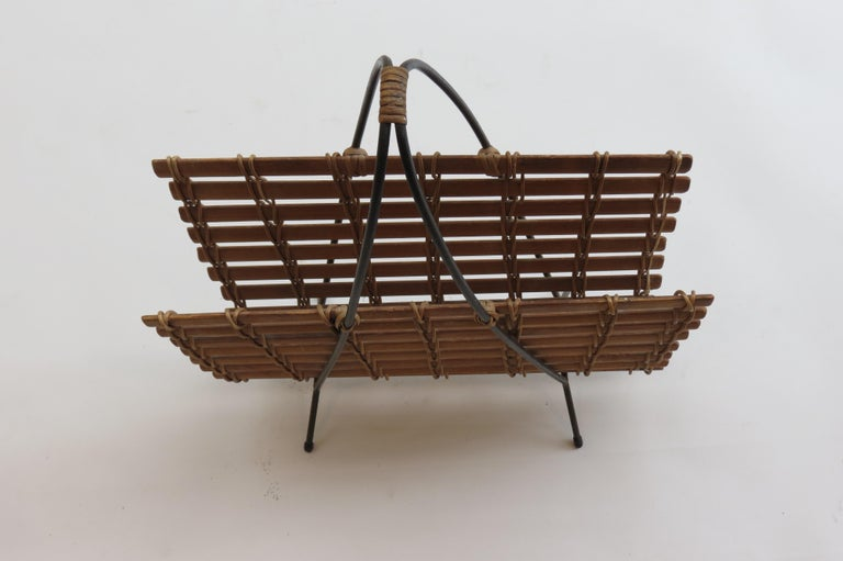 1950s Pine and Steel Magazine Rack Carl Auböck Style For Sale 1