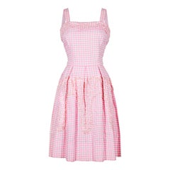 1950s Pink and White Gingham Check Sequinned Dress