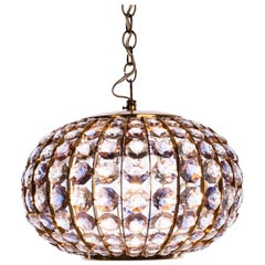 1950s Pink/Clear Crystal Chandelier by Bakalowits & Sohne