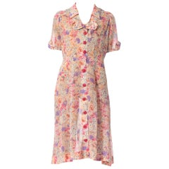 1950S Pink Floral Cotton Lawn Dress With Bow & Button Details