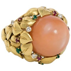1950s Pink Moonstone and Multi-Gemstone Cocktail Ring of Foliate Design