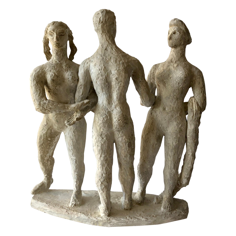 1950s Plaster Modernist Figural Three Graces Sculpture