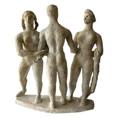 1950s Plaster Modernist Figural Three Graces Sculpture