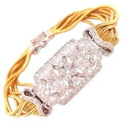 1950s Platinum 18 Karat Yellow Gold Diamond Filigree Multi-Row Bracelet