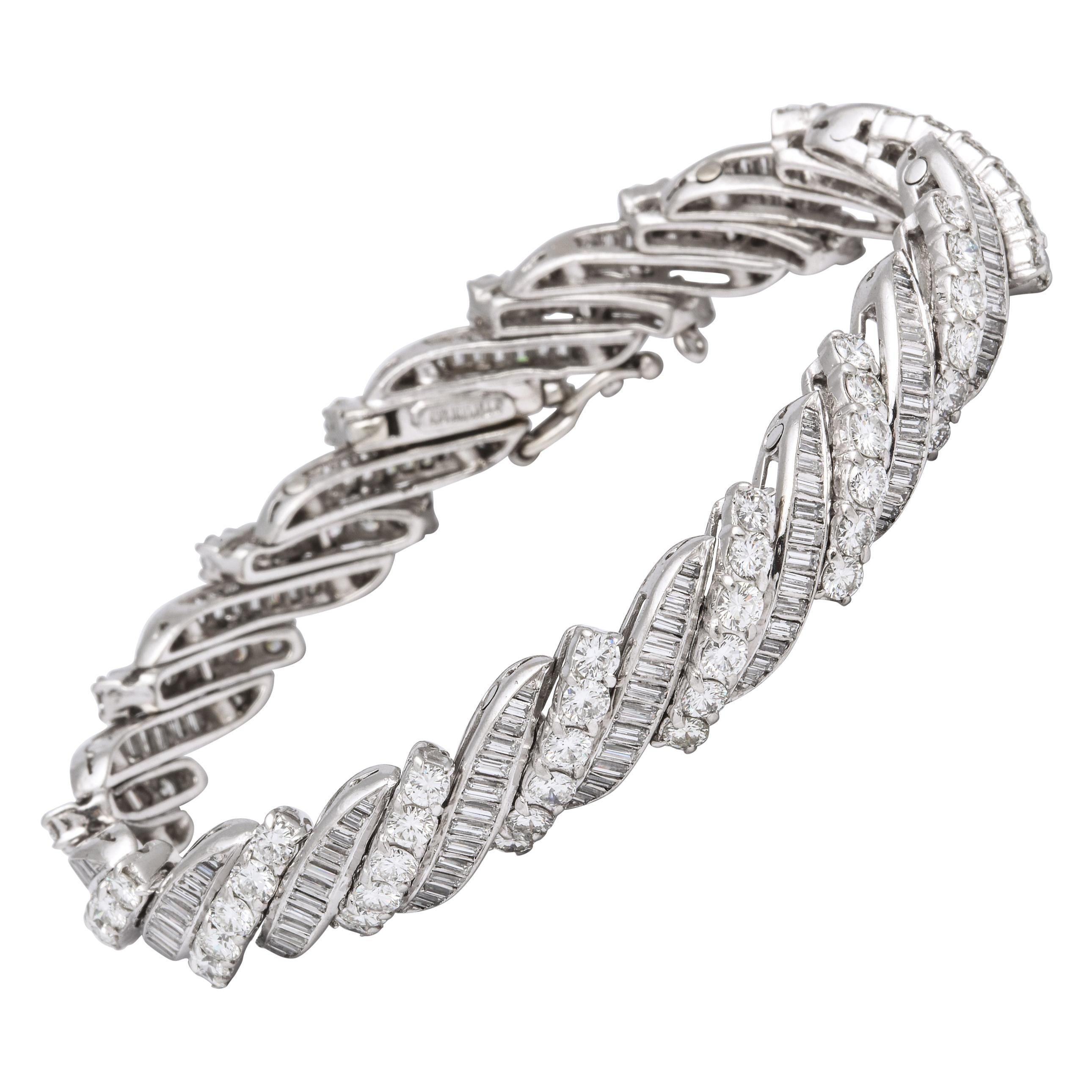 1950s Platinum Baguette Tennis Bracelet Unisex