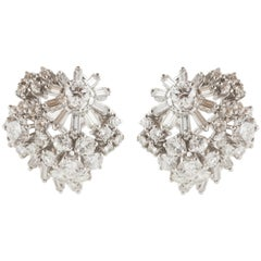 1950s Platinum Diamond Earrings
