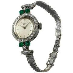 1950s Platinum Diamond Emerald IWC International Watch Company Bracelet Watch