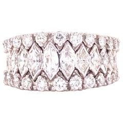 1950s Platinum Marquise Round Brilliant Cut Diamond Band Ring