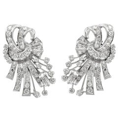 1950s Platinum Round Daimonds Earrings