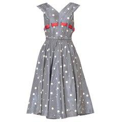 1950'S Blue & White Gingham Taffeta Polka Dot Printed Dress With Belt Red Bow