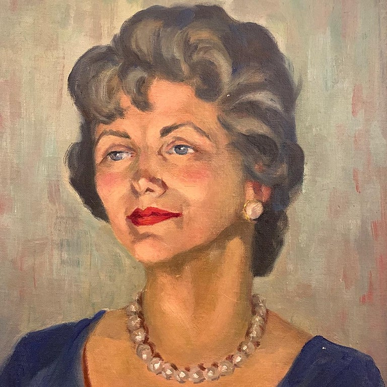 American Classical 1950s Portrait Painting, Woman with Pearls, Alberta Winchester by Alida Vreeland For Sale