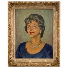 1950s Portrait Painting, Woman with Pearls, Alberta Winchester by Alida Vreeland