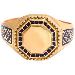 1950s Portuguese Enamel Signet Ring