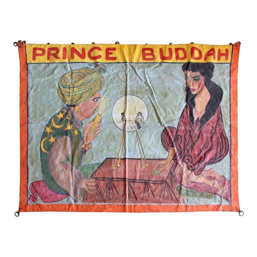 """1950s """"Prince Buddah"""" Circus Sideshow Banner"""