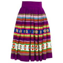 1950S Purple Multicolored Cotton Florida Seminole Indian Patchwork Skirt