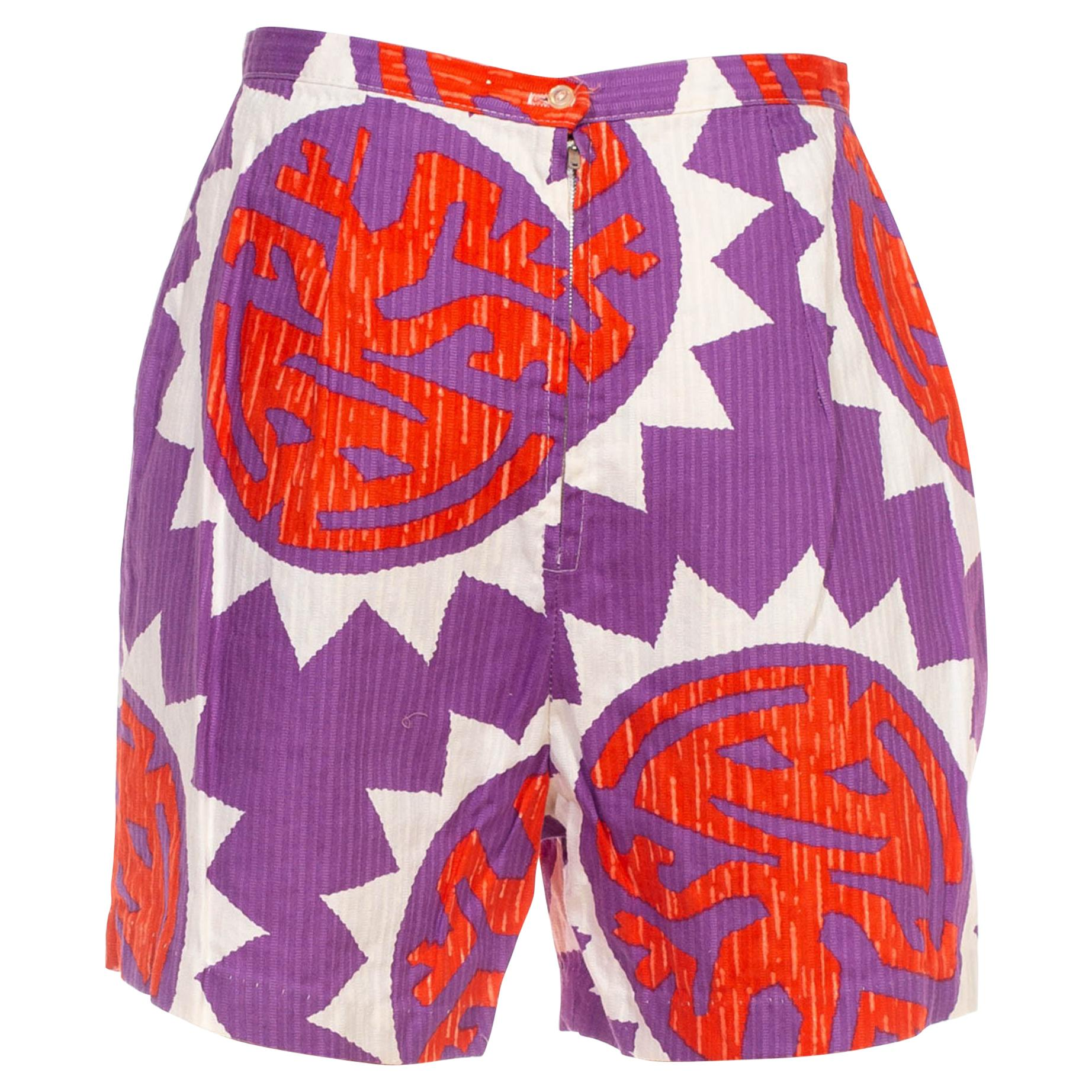 1950S Purple & Red Cotton Shorts