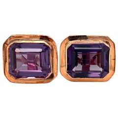 1950s Purple Stone Cufflinks in 10 Karat Rose Gold