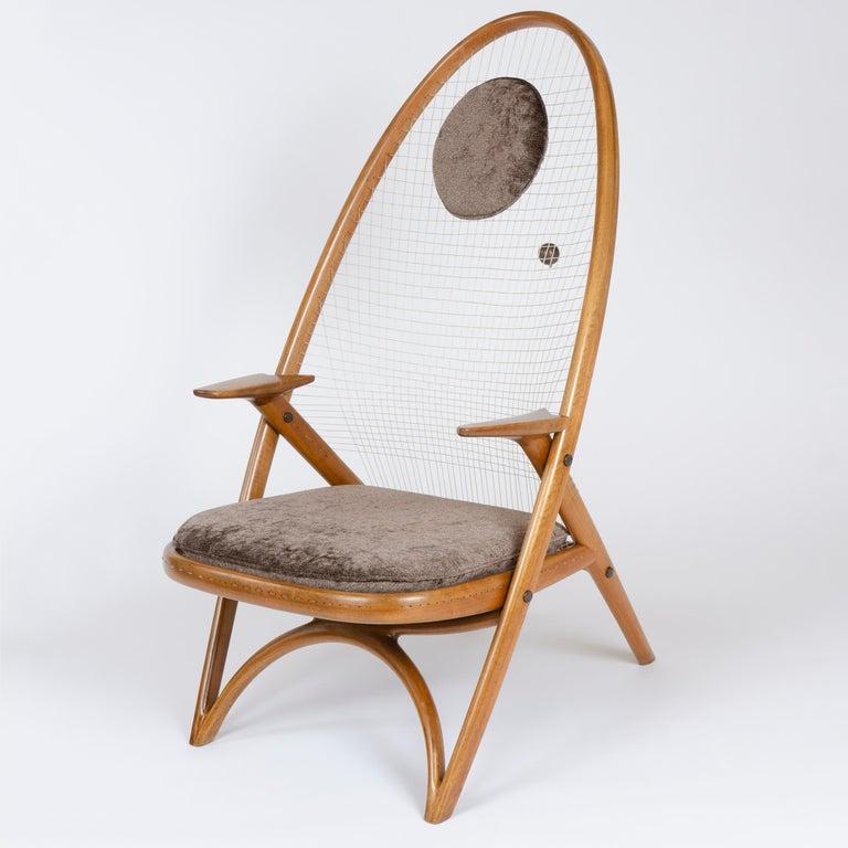 Patinated 1950s Racquet Chair by Vestergaard Jensen for Peder Pedersen For Sale