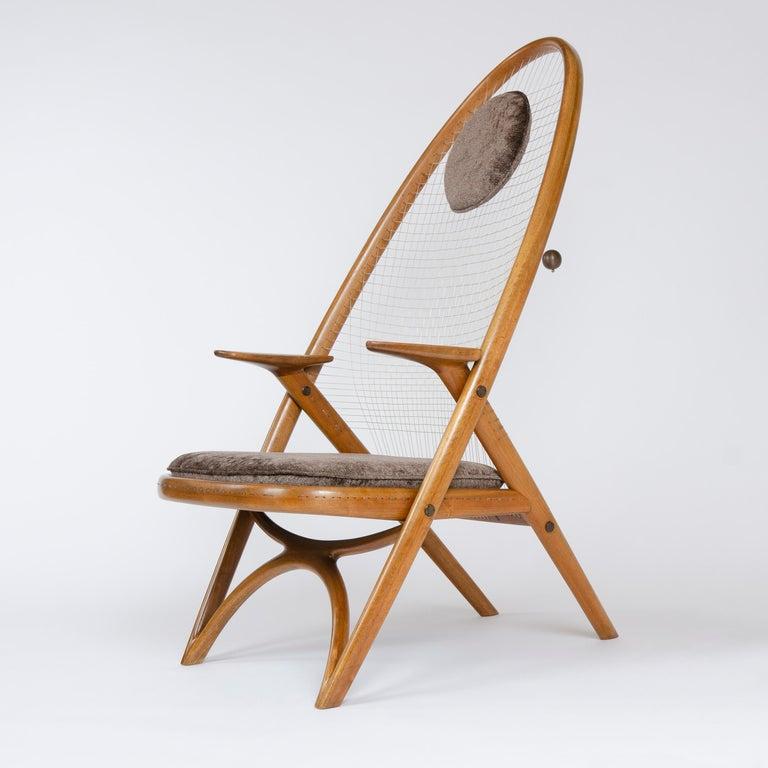 1950s Racquet Chair by Vestergaard Jensen for Peder Pedersen In Good Condition For Sale In Sagaponack, NY
