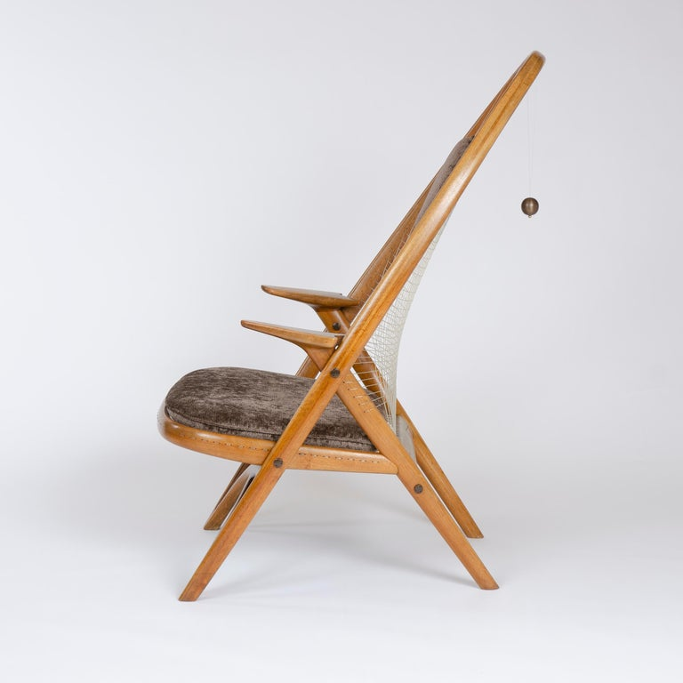 Brass 1950s Racquet Chair by Vestergaard Jensen for Peder Pedersen For Sale