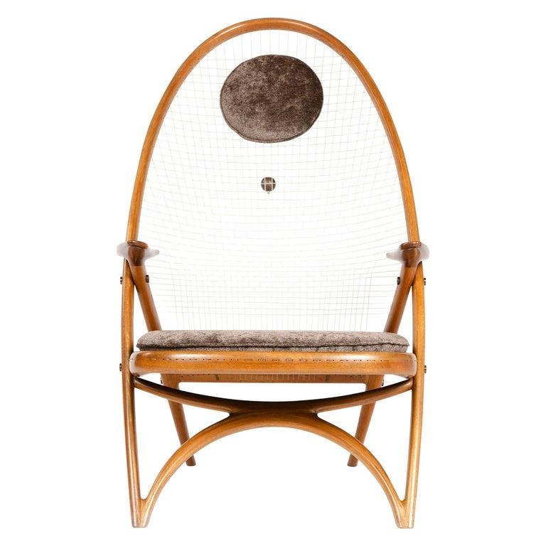 1950s Racquet Chair by Vestergaard Jensen for Peder Pedersen For Sale