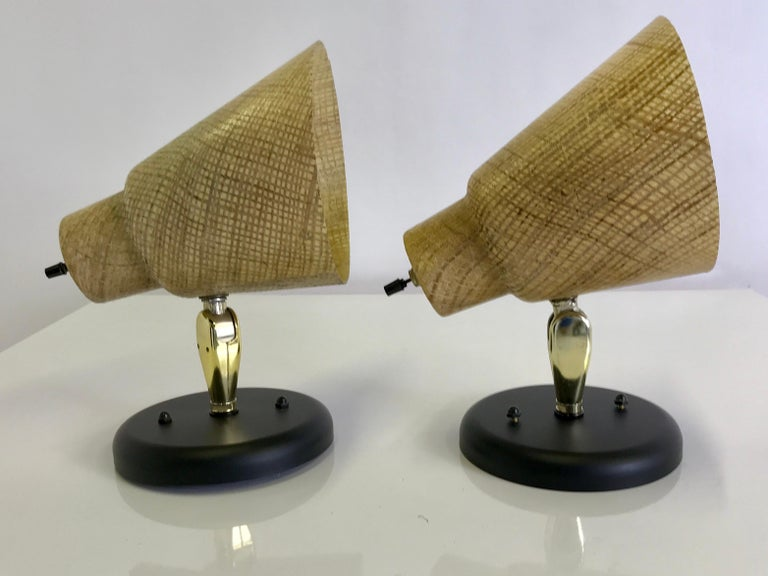 Tropical Modern 1950s Acrylic Raffia Cone Wall Sconces For Sale 7