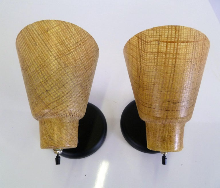 American Tropical Modern 1950s Acrylic Raffia Cone Wall Sconces For Sale