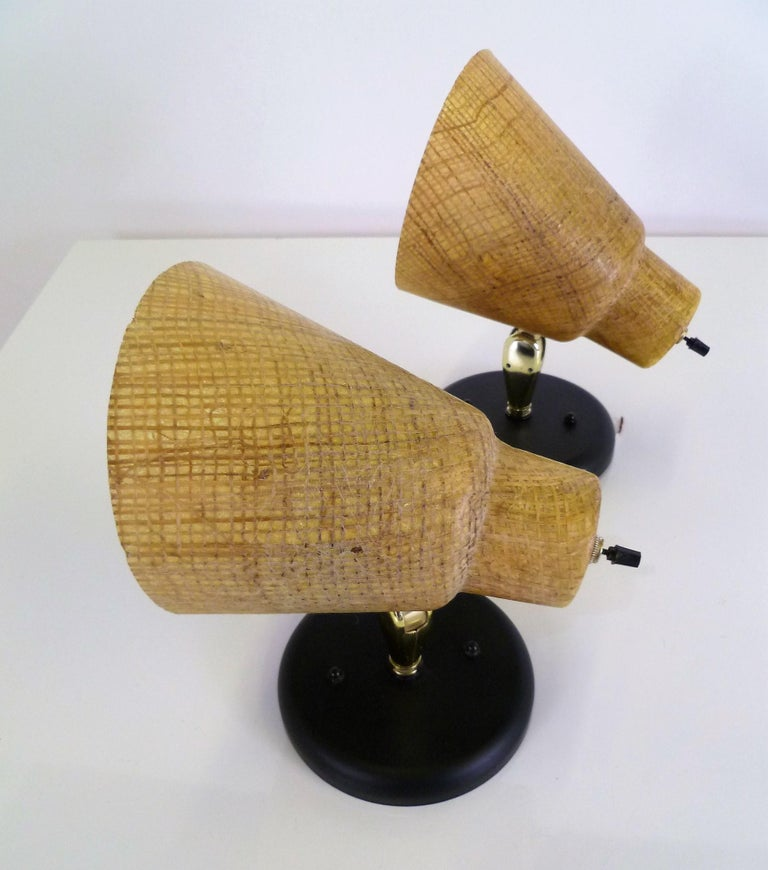 Tropical Modern 1950s Acrylic Raffia Cone Wall Sconces In Good Condition For Sale In Miami, FL