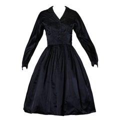 1950s Rappi Vintage Navy Blue Heavy Silk Satin New Look Long Sleeve Dress XS