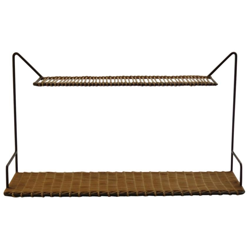 1950s Rare Cane and Metal Shelving by Guy Raoul, France