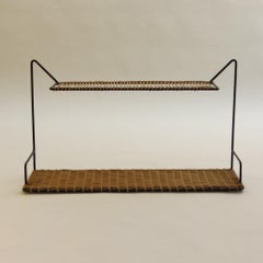 1950s Rare Cane and Metal Shelving by Guy Raoul France
