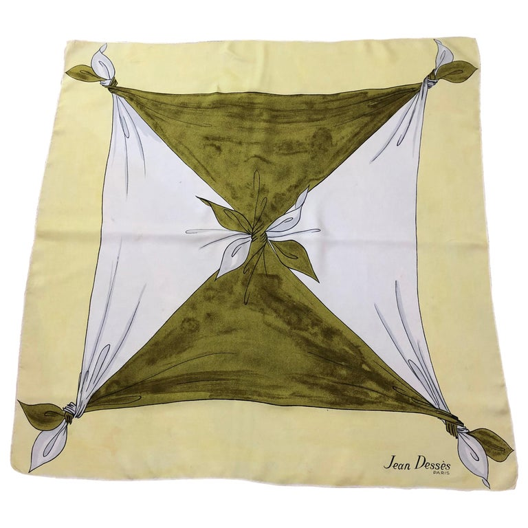 "1950s Rare Jean Desses Superb Silk Scarf 29.5""x30.5"" For Sale"