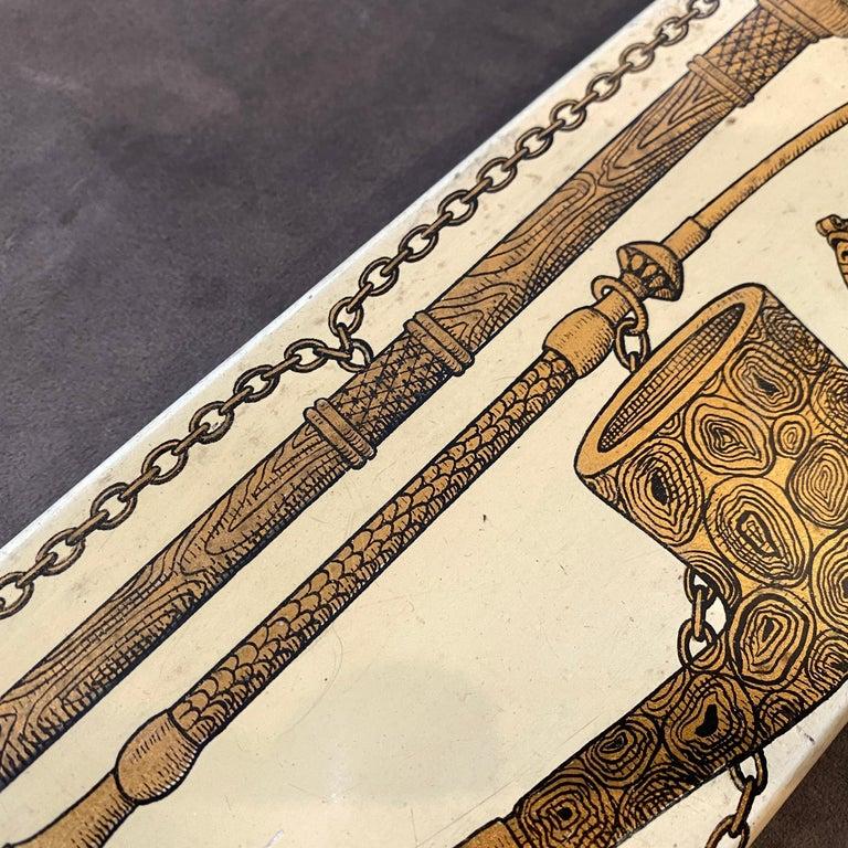 Brass 1950s Rare Piero Fornasetti Mid-Century Modern Enameled Cigarette Box For Sale