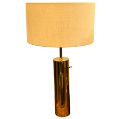 1950s Rare Polished Brushed Brass Lamp by Nessen Studios