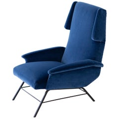 1950s Rare Italian Blue Velvet Lounge Armchair