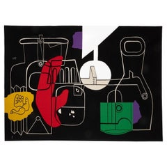 """1950s Rare Tapestry by Le Corbusier """"Still Life"""", Handwoven in Aubusson, France"""