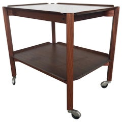1950s Rare Teak Plywood Trolley or Tea Cart by Cees Braakman for Pastoe