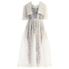 1950S White Rare & Unique Lace Printed Plastic Dress