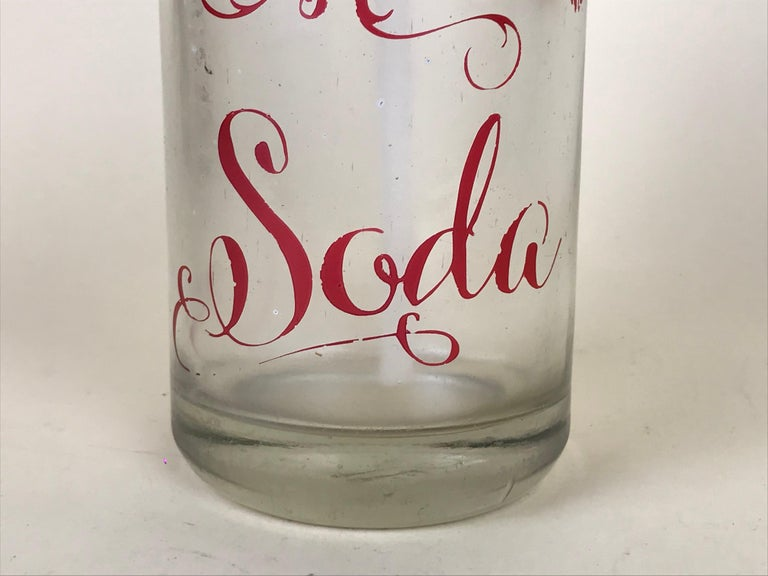 Mid-Century Modern 1950s Rare Vintage Glass Italian Soda Syphon Seltzer Campari Milano Soda For Sale