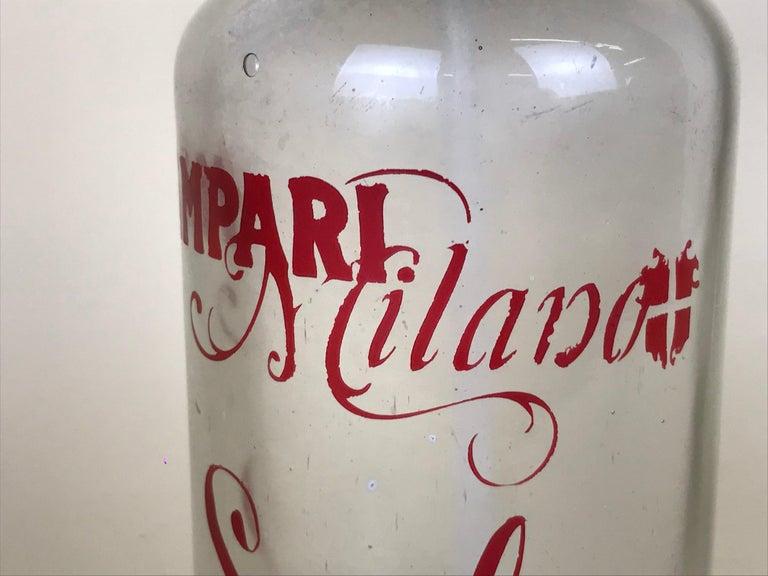 Mid-20th Century 1950s Rare Vintage Glass Italian Soda Syphon Seltzer Campari Milano Soda For Sale