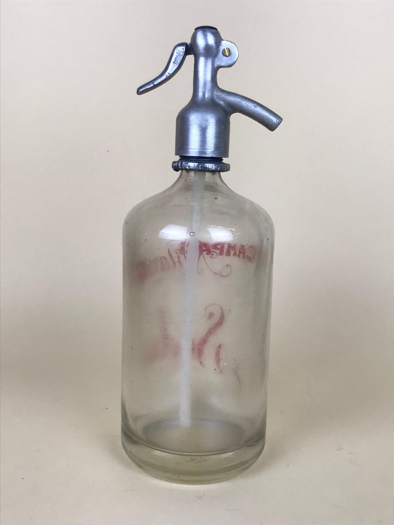 1950s Rare Vintage Glass Italian Soda Syphon Seltzer Campari Milano Soda For Sale 1