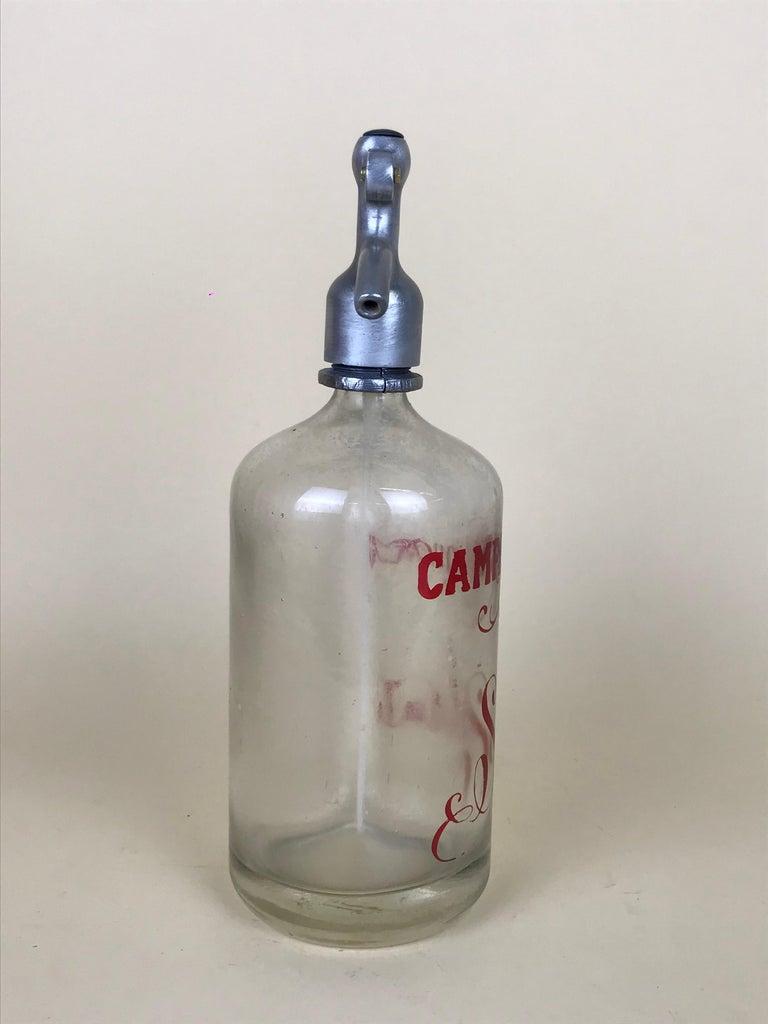1950s Rare Vintage Glass Italian Soda Syphon Seltzer Campari Milano Soda For Sale 2