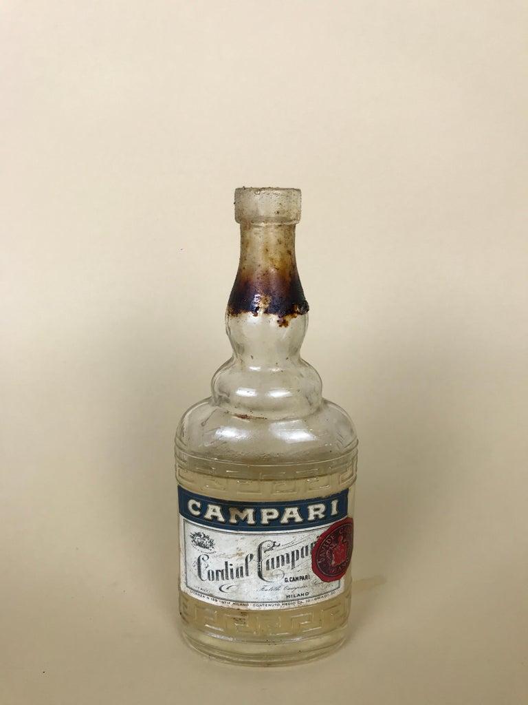 1950s Rare Vintage Italian Cordial Campari Glass Flask with Aluminium Cup For Sale 7