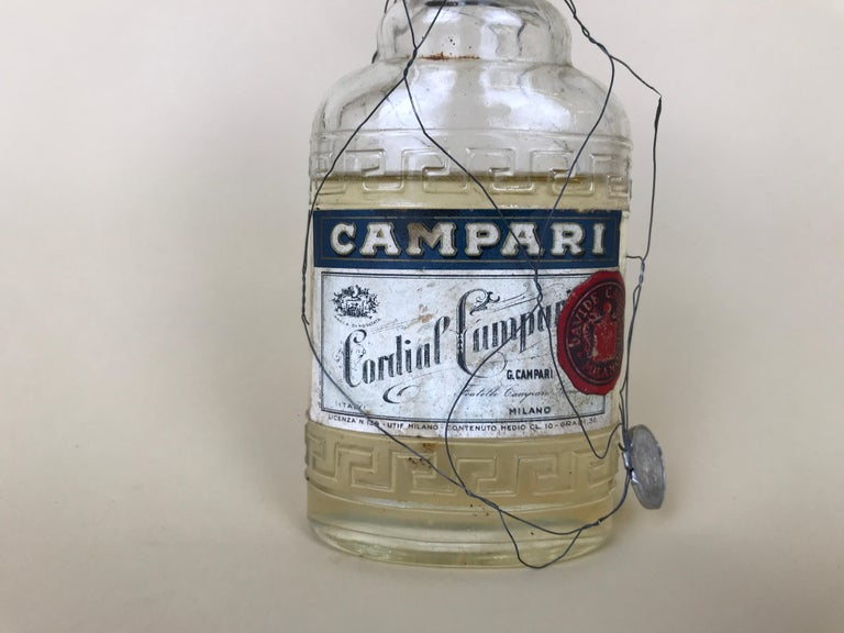 Mid-Century Modern 1950s Rare Vintage Italian Cordial Campari Glass Flask with Aluminium Cup For Sale