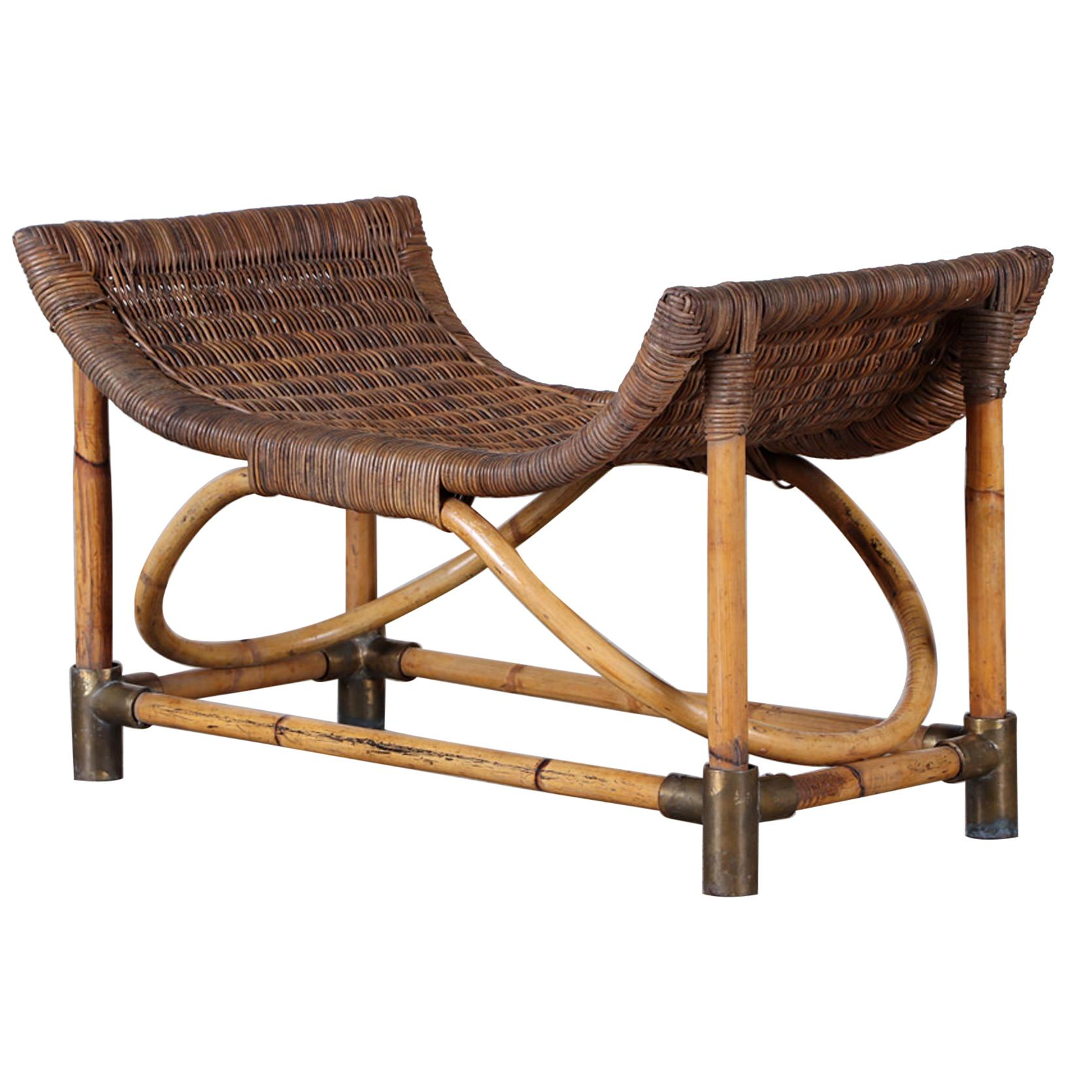 1950s Rattan and Bentwood Bench