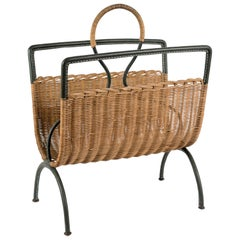 1950s Rattan and Stitched Leather Magazine Rack by Jacques Adnet