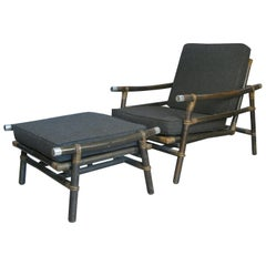 1950s Rattan Lounge Chair & Ottoman by Wisner for Ficks Reed