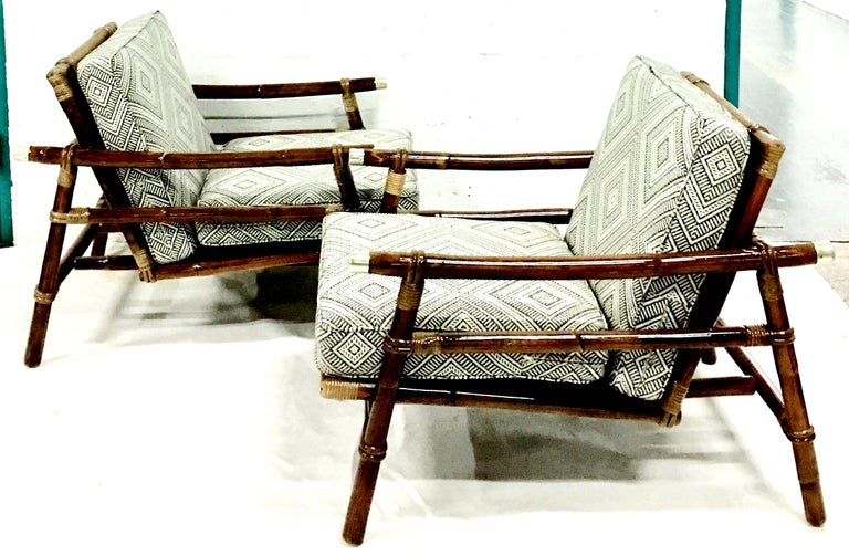 Rattan Raffia And Brass Pair Of Lounge Chairs And Ottoman By Ficks